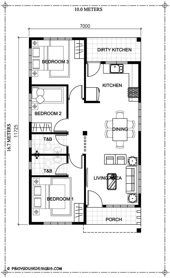 Simple 7 Bedroom House Plans New Simple 3 Bedroom Bungalow House Design