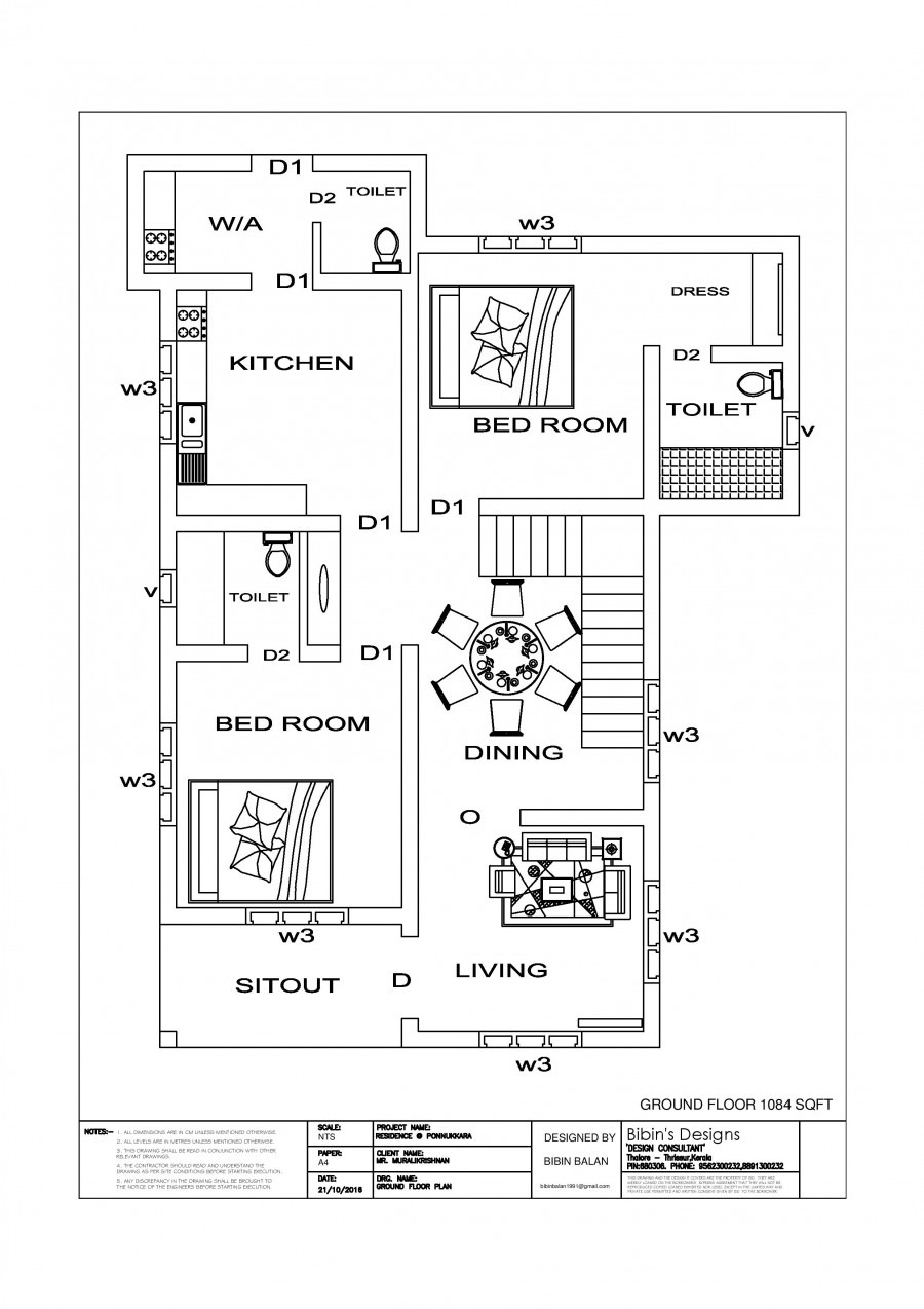 free house plan 1511 sq ft 3 bedroom