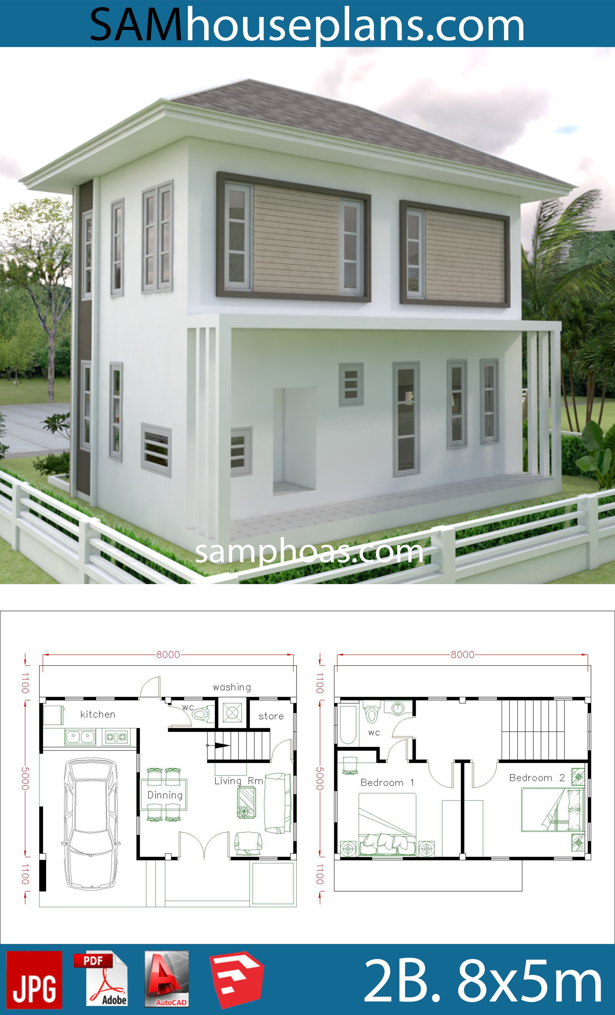 small home design plan 8x5m with 2 bedrooms