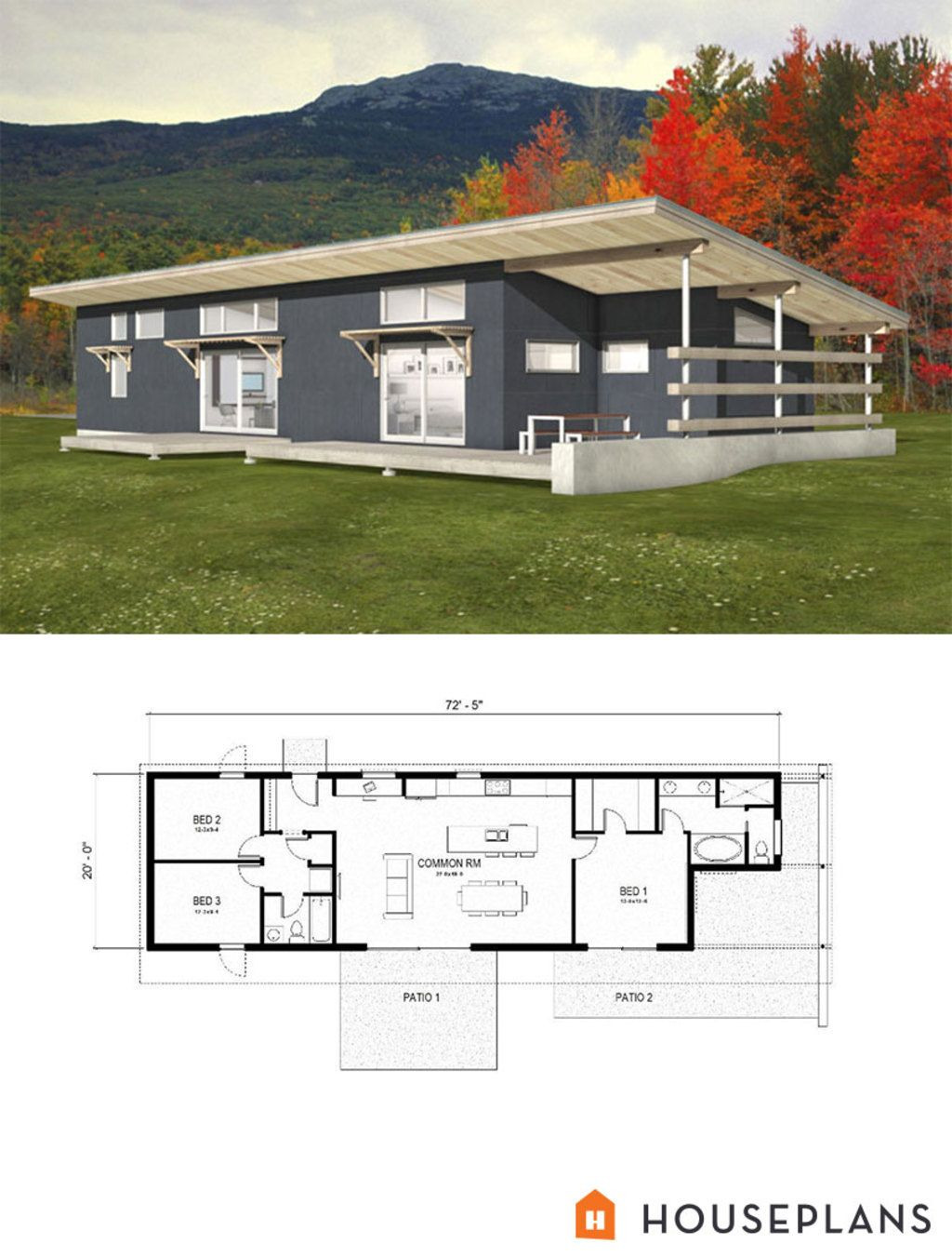 Small Efficient House Plans Inspirational Modern Style House Plan 3 Beds 2 Baths 1356 Sq Ft Plan