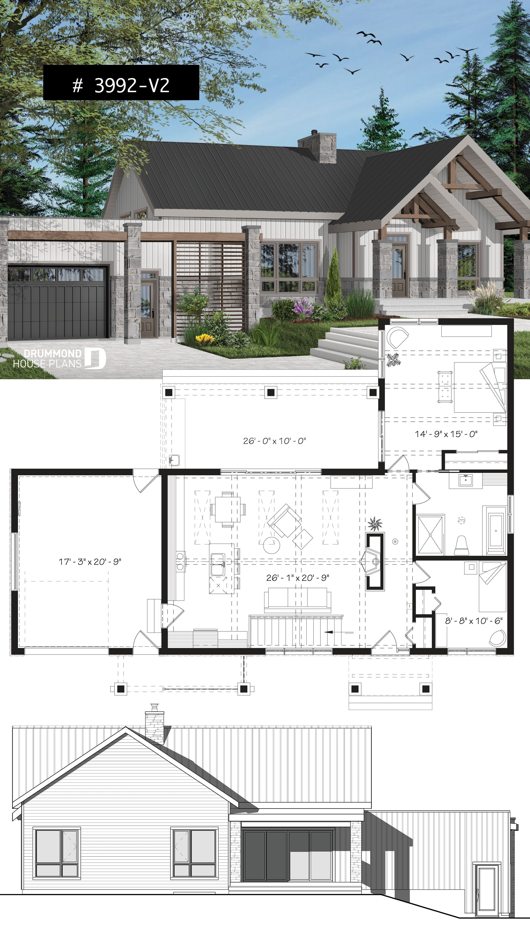 Small House Plans with Open Floor Plan Luxury House Plan Olympe 3 No 3992 V2