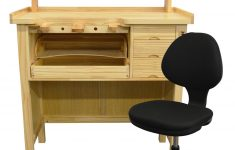 Solid Wood Furniture Kits Elegant Deluxe Solid Wooden Jewelers Bench Set With Shelf Organizer & Chair