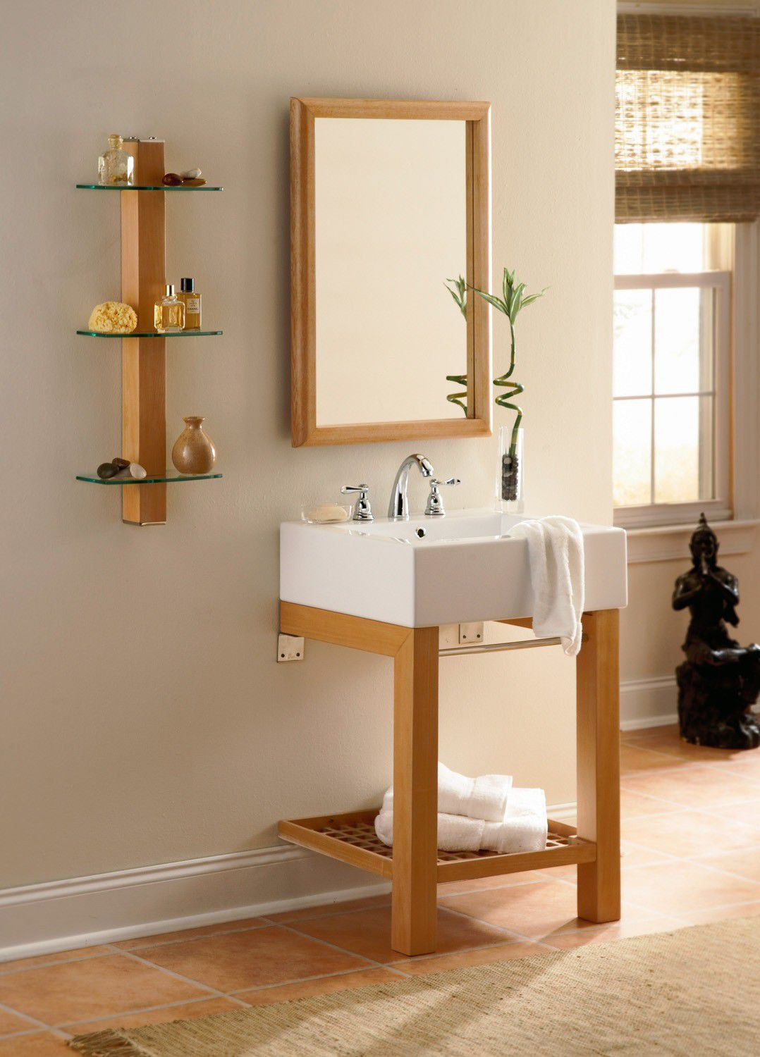 Solid Wood Furniture Kits Elegant Free Standing Washbasin Cabinet solid Wood Traditional