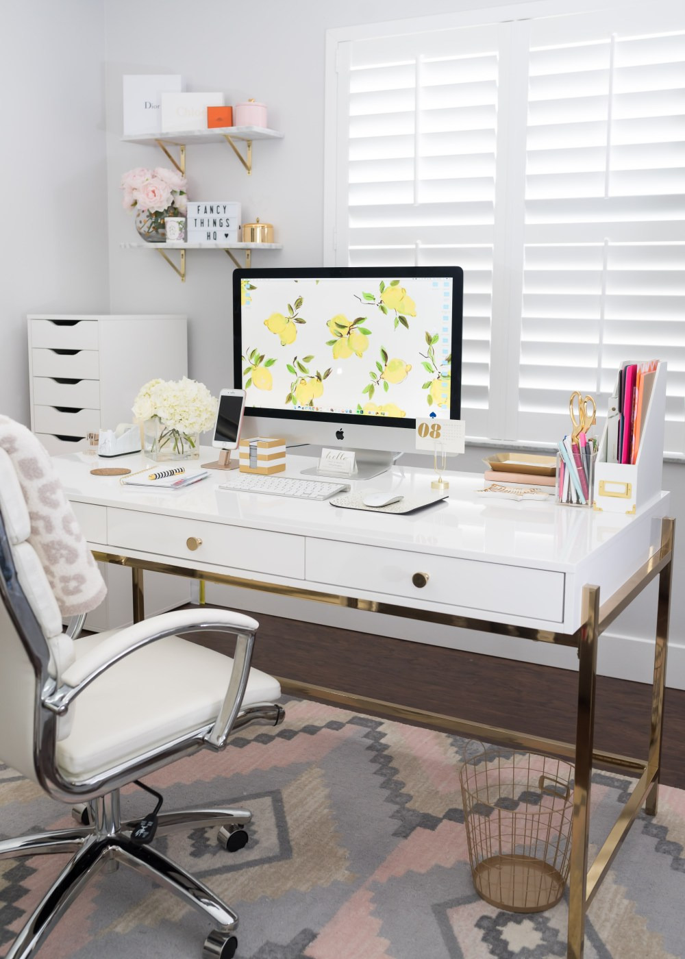 Park Avenue Writing Desk in White and Gold Overstock Fancy Things fice