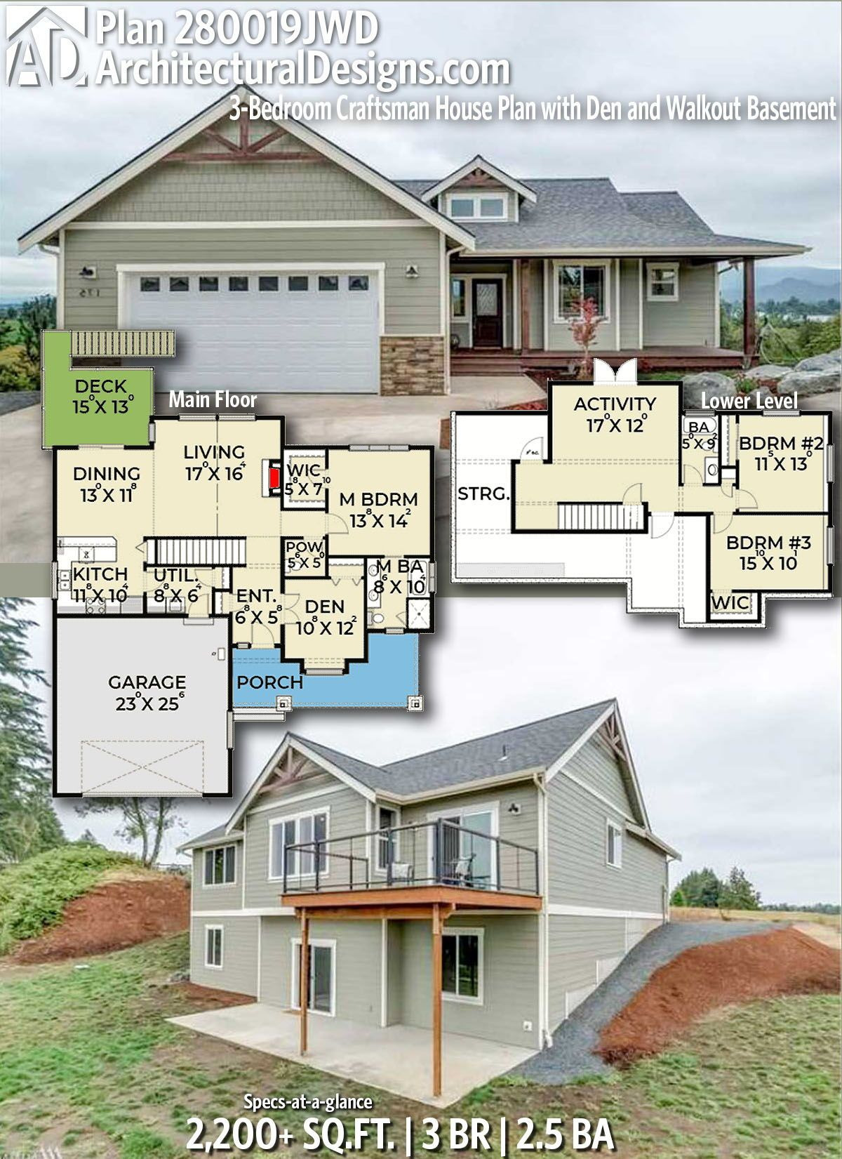 Timber Frame House Plans with Walkout Basement Beautiful Plan Jwd 3 Bedroom Craftsman House Plan with Den and