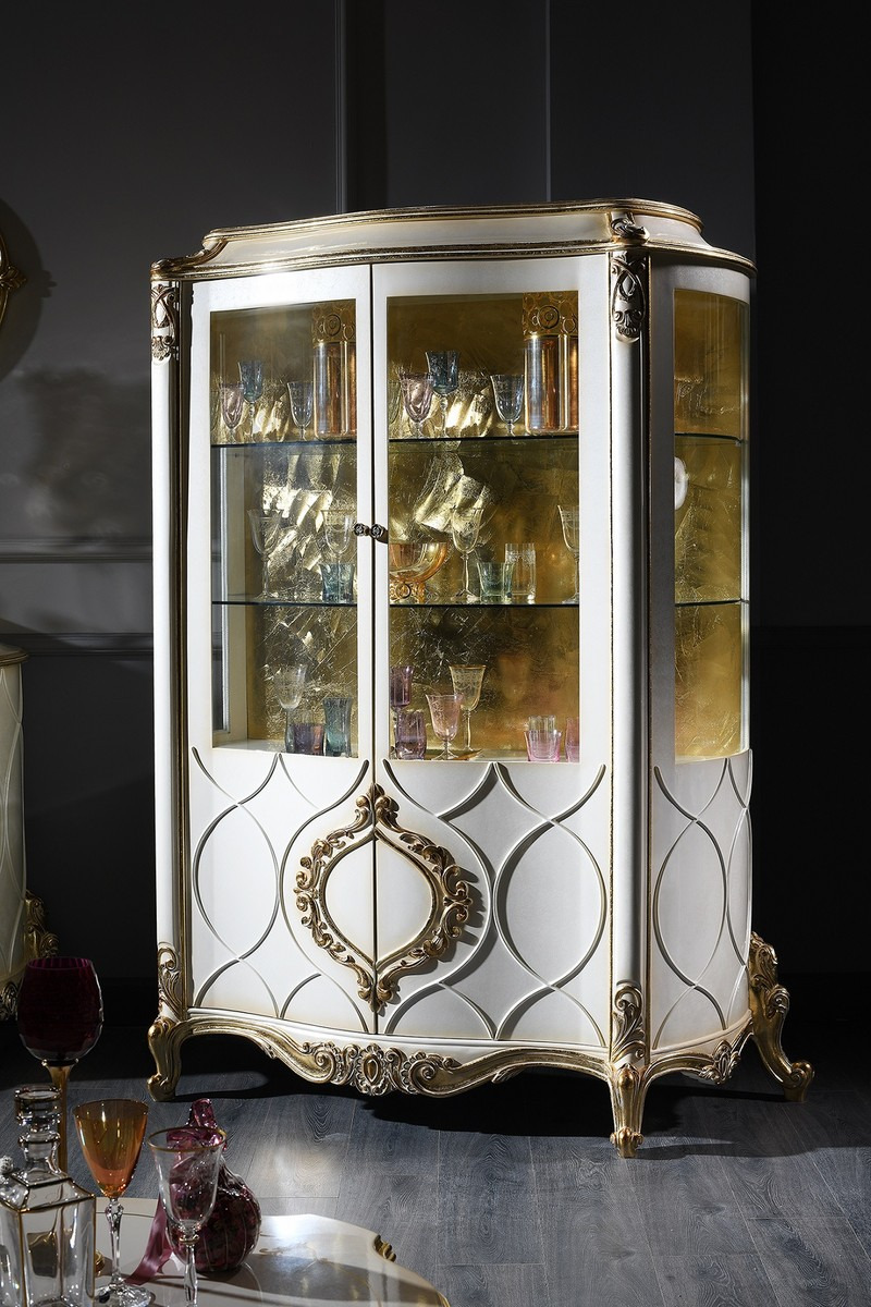 White and Gold Antique Furniture Beautiful Casa Padrino Luxury Baroque Display Cabinet White Antique Gold 132 X 57 X H 201 Cm Sumptuous Baroque Showcase with 2 Doors Baroque Living Room