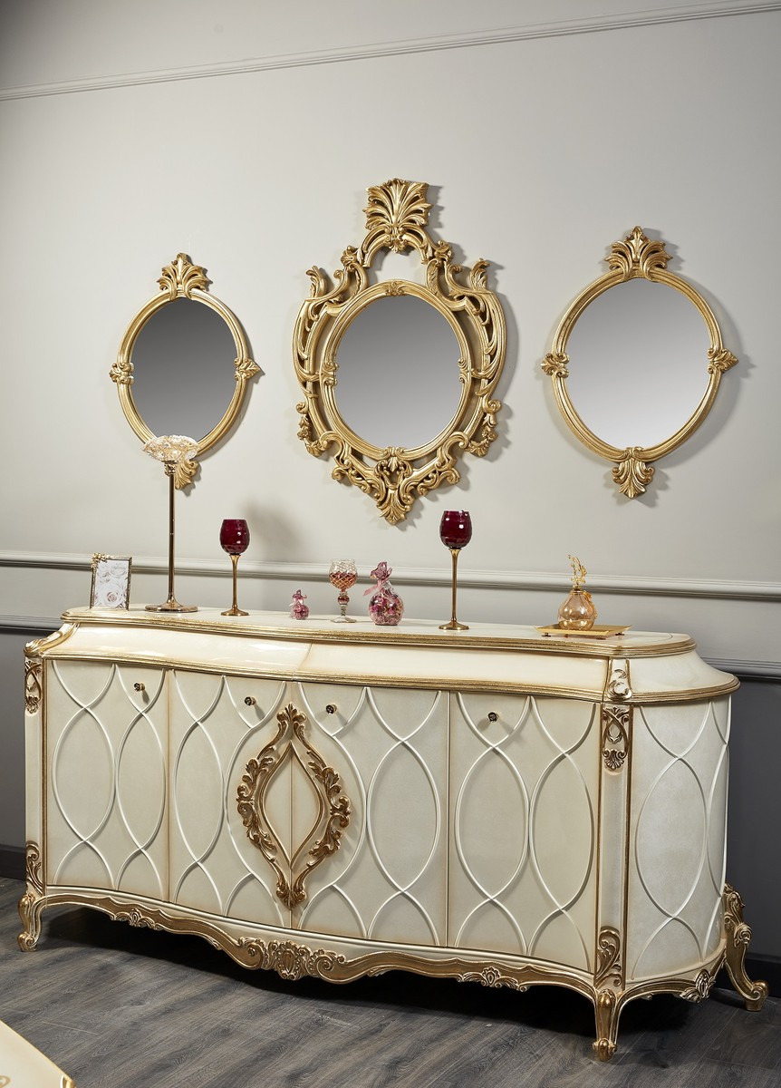 White and Gold Antique Furniture Elegant Casa Padrino Luxury Baroque Living Room Set White Antique Gold Sumptuous Baroque Chest Of Drawers and 3 Wall Mirrors Baroque Furniture