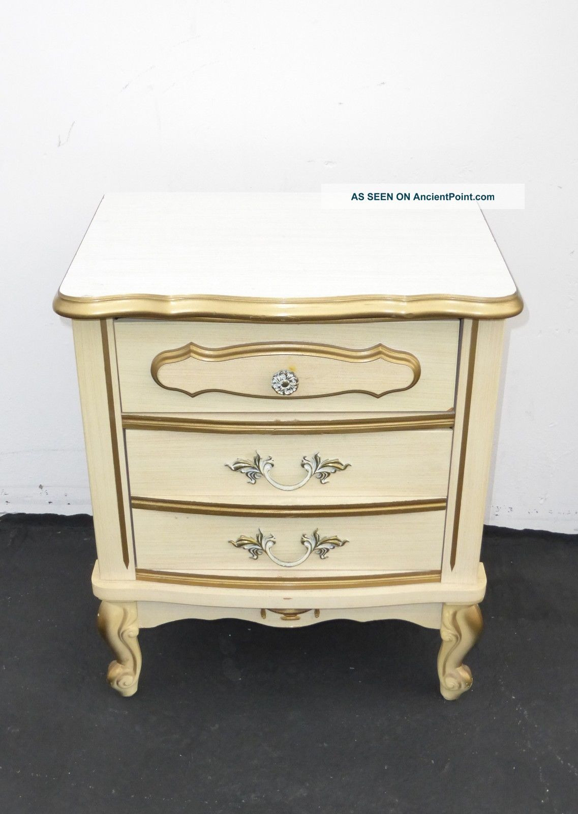 White and Gold Antique Furniture Unique Vintage French Provincial F White & Gold Gilt Nightstand W