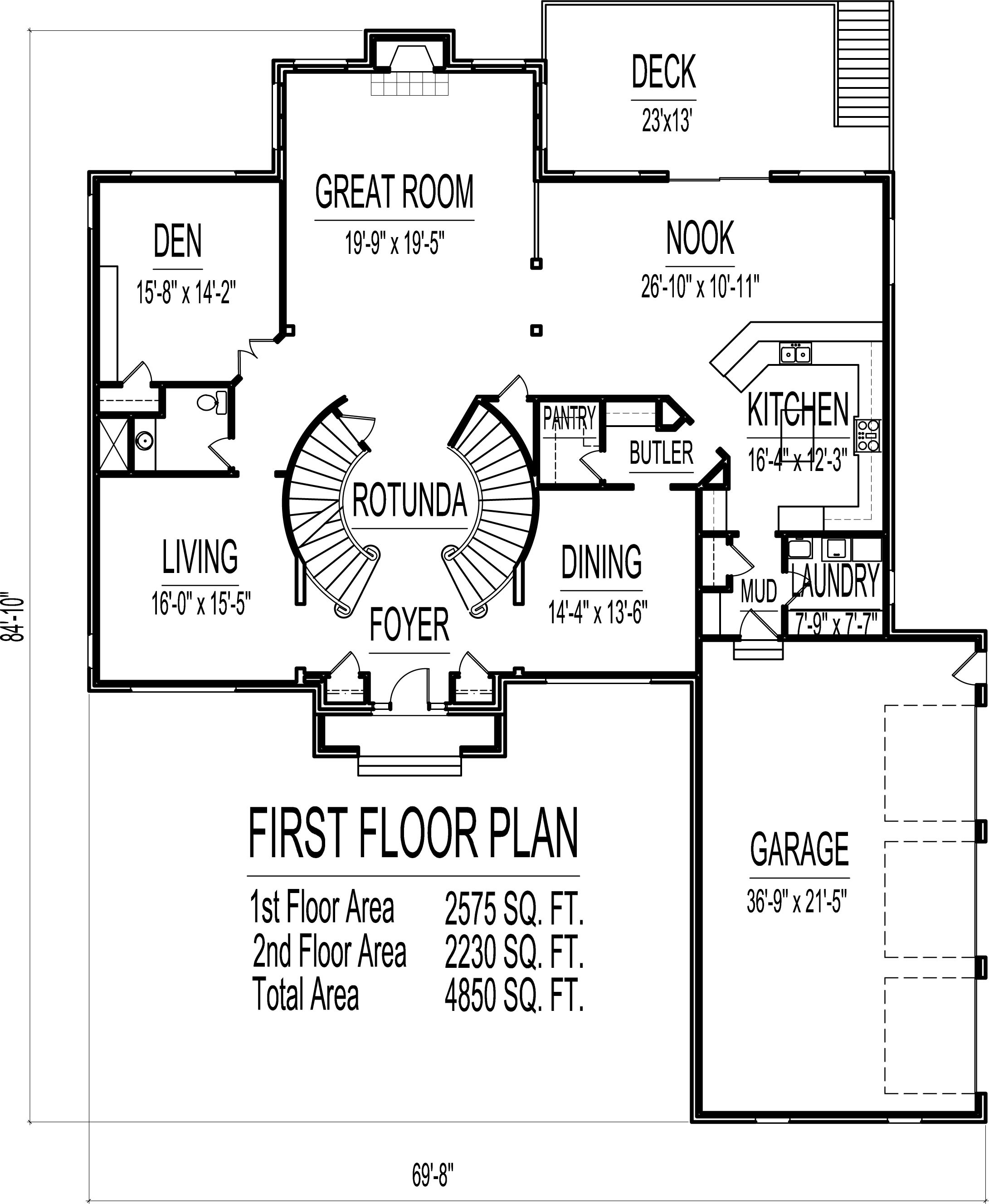 house plans 4 bedroom 2 story circular stair