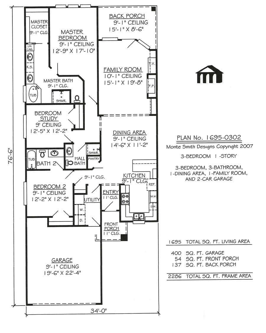 1695 0302 3 Room House Plan