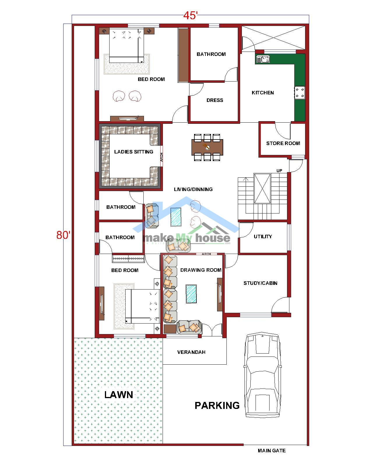 3600 Sq Ft House Plans India Inspirational Buy 45x80 House Plan 45 by 80 Elevation Design
