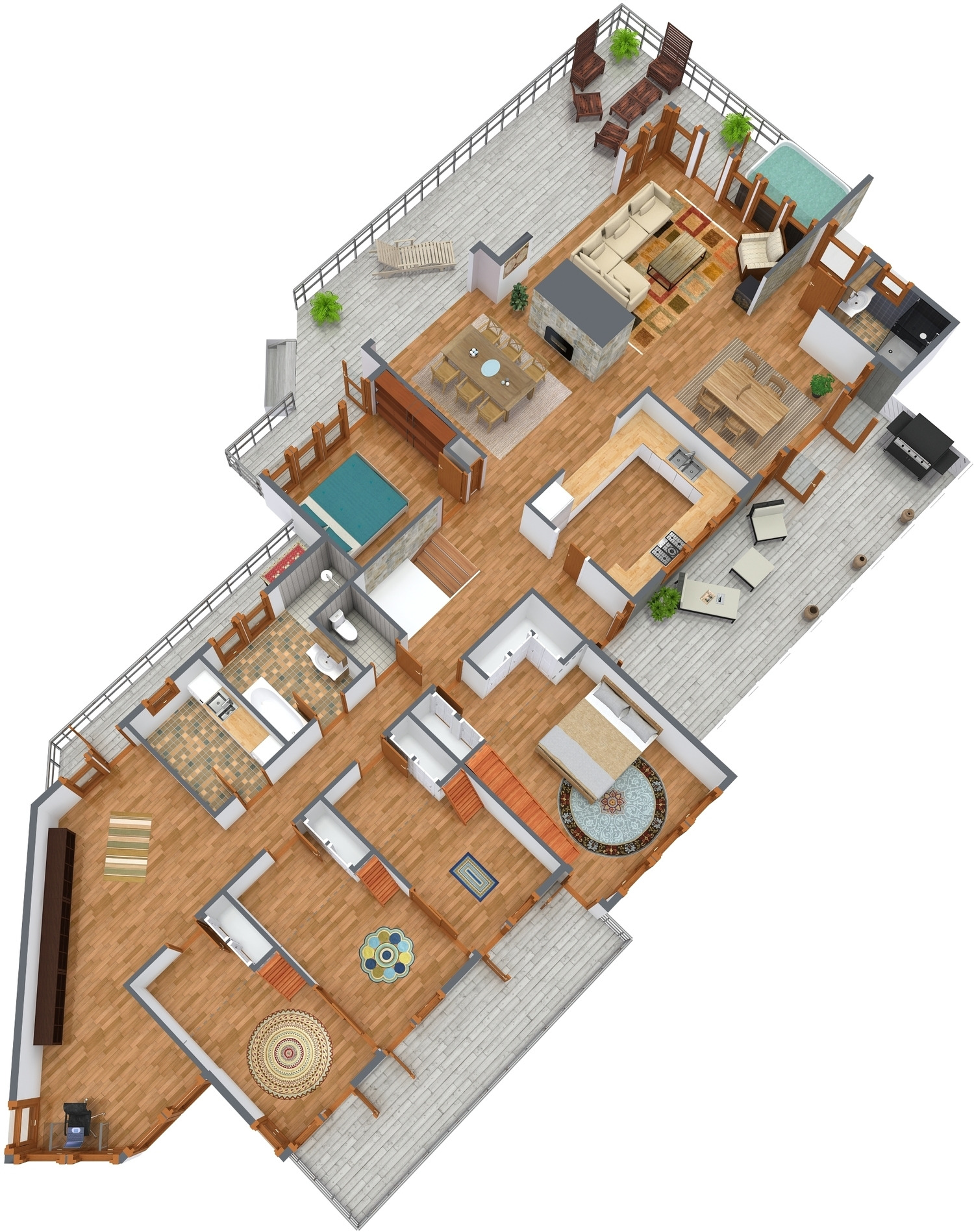 3D Floor Plan 45 degrees angled