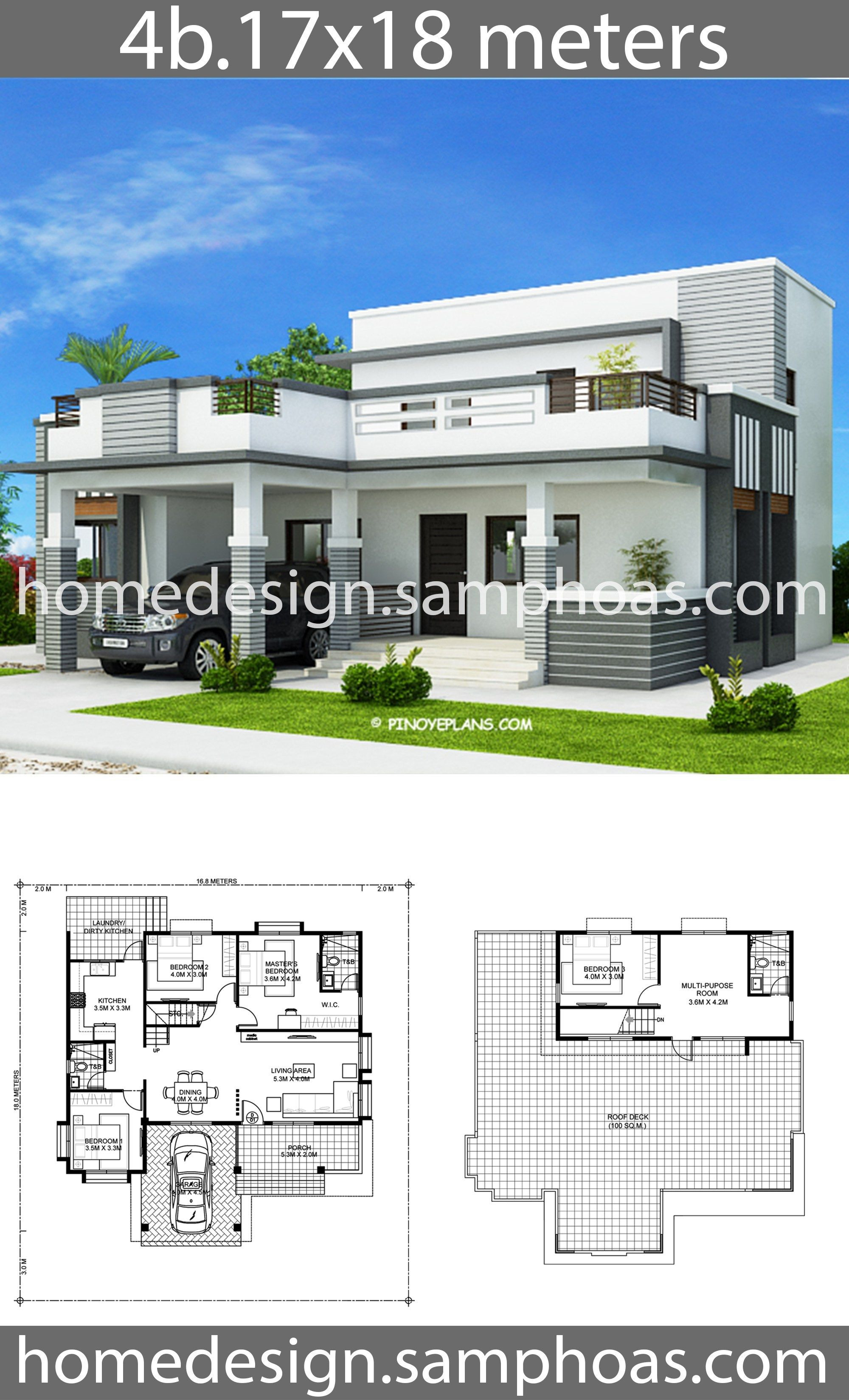 4 Bedroom Home Design Unique House Plans 17x18m with 4 Bedrooms