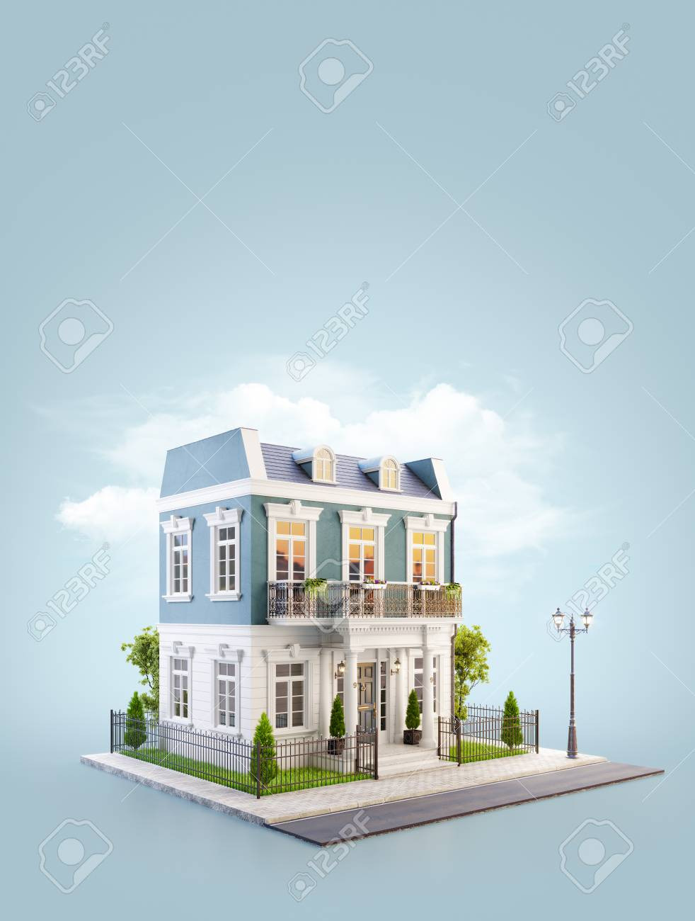 photo stock illustration unusual 3d illustration of a beautiful house with white entrance lawn and small cute garden at the r