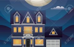 A Beautiful House Image Lovely Beautiful House In The Neighborhood At Night Scene Vector Illustration