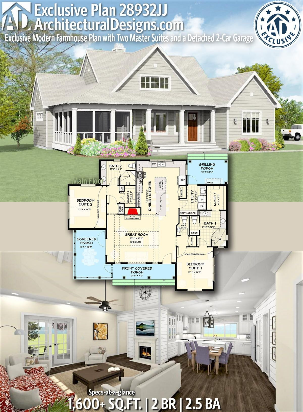 Add On House Plans Best Of Plan Jj Exclusive Modern Farmhouse Plan with Two
