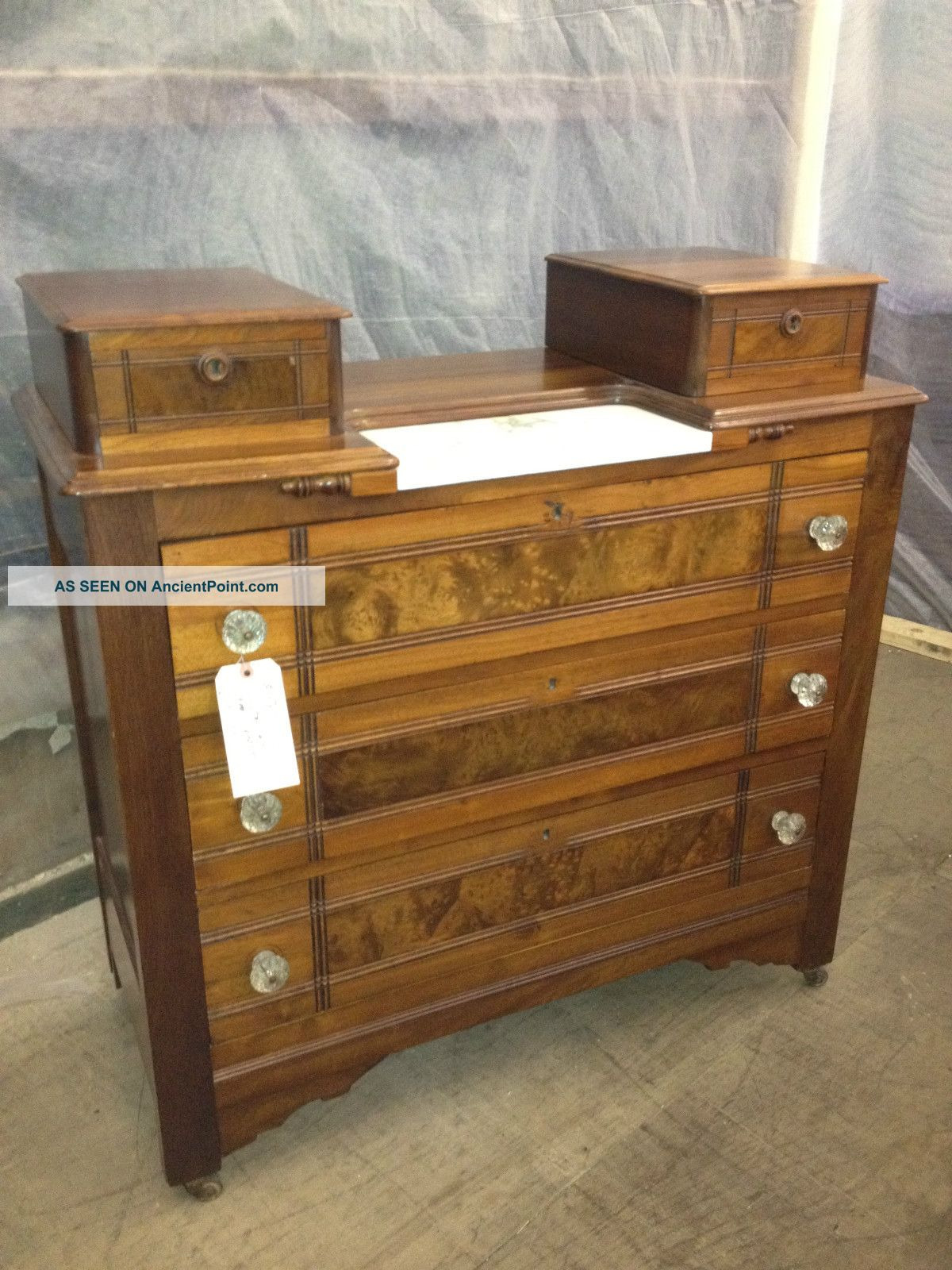 victorian antique marble top bedroom furniture dresser chest refinished 2 lgw