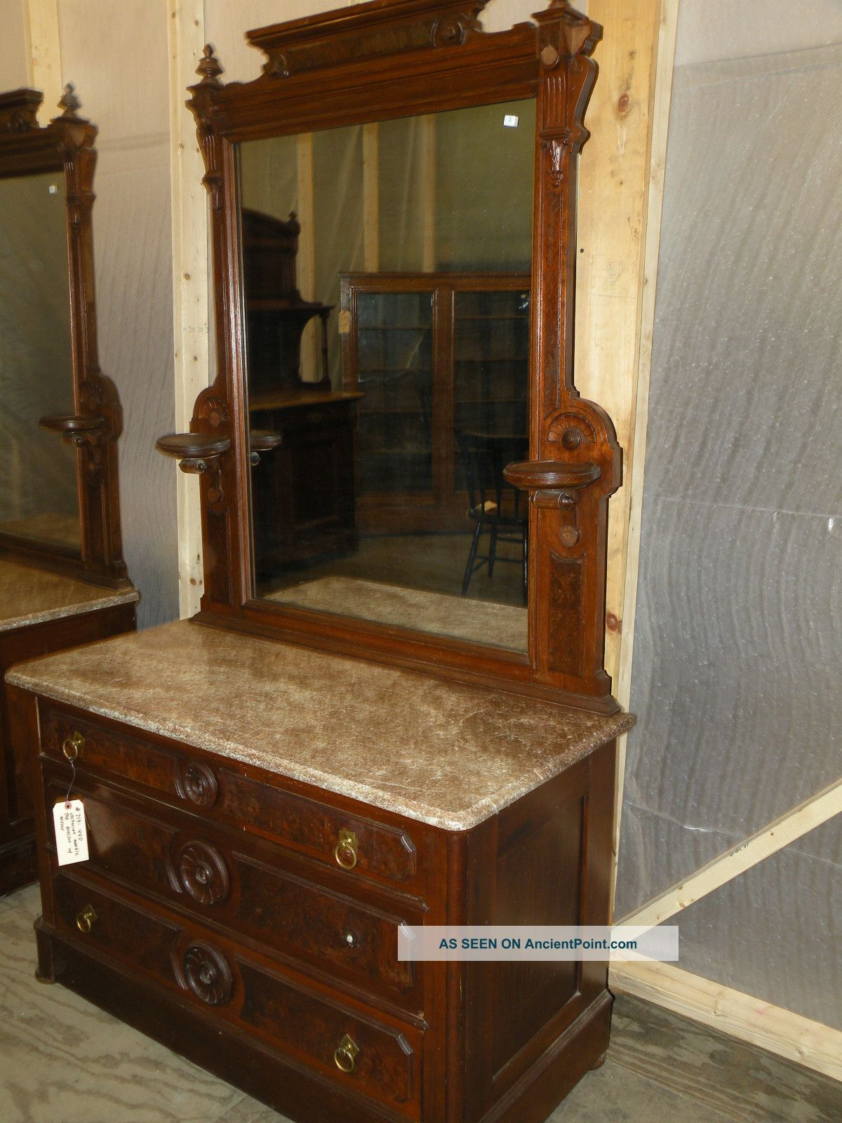 pair of marble top victorian antique bedroom dressers with mirror