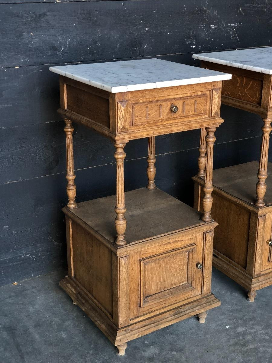 pair oak marble top night stands max