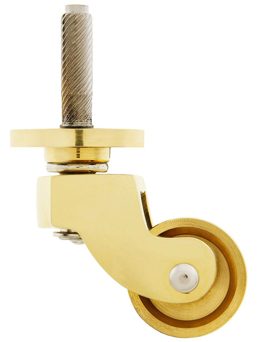 """Antique Brass Casters for Furniture Beautiful solid Brass English Style Caster with 1"""" Brass Wheel"""