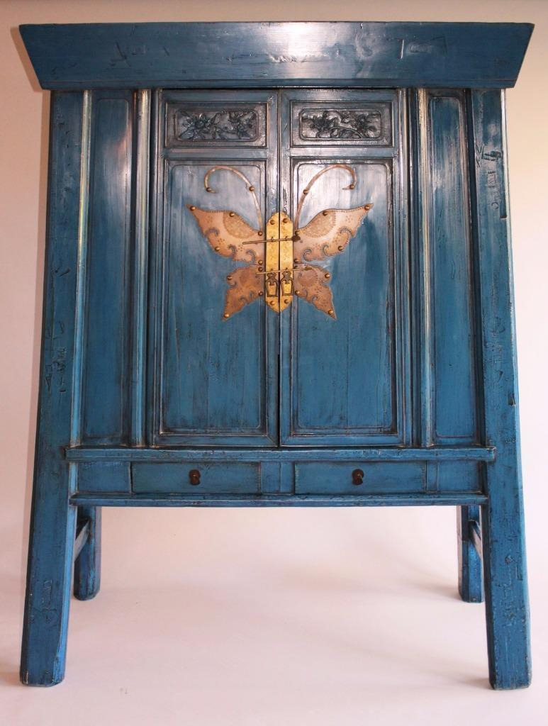 antique chinese butterfly cabinet blue lacquer c1900
