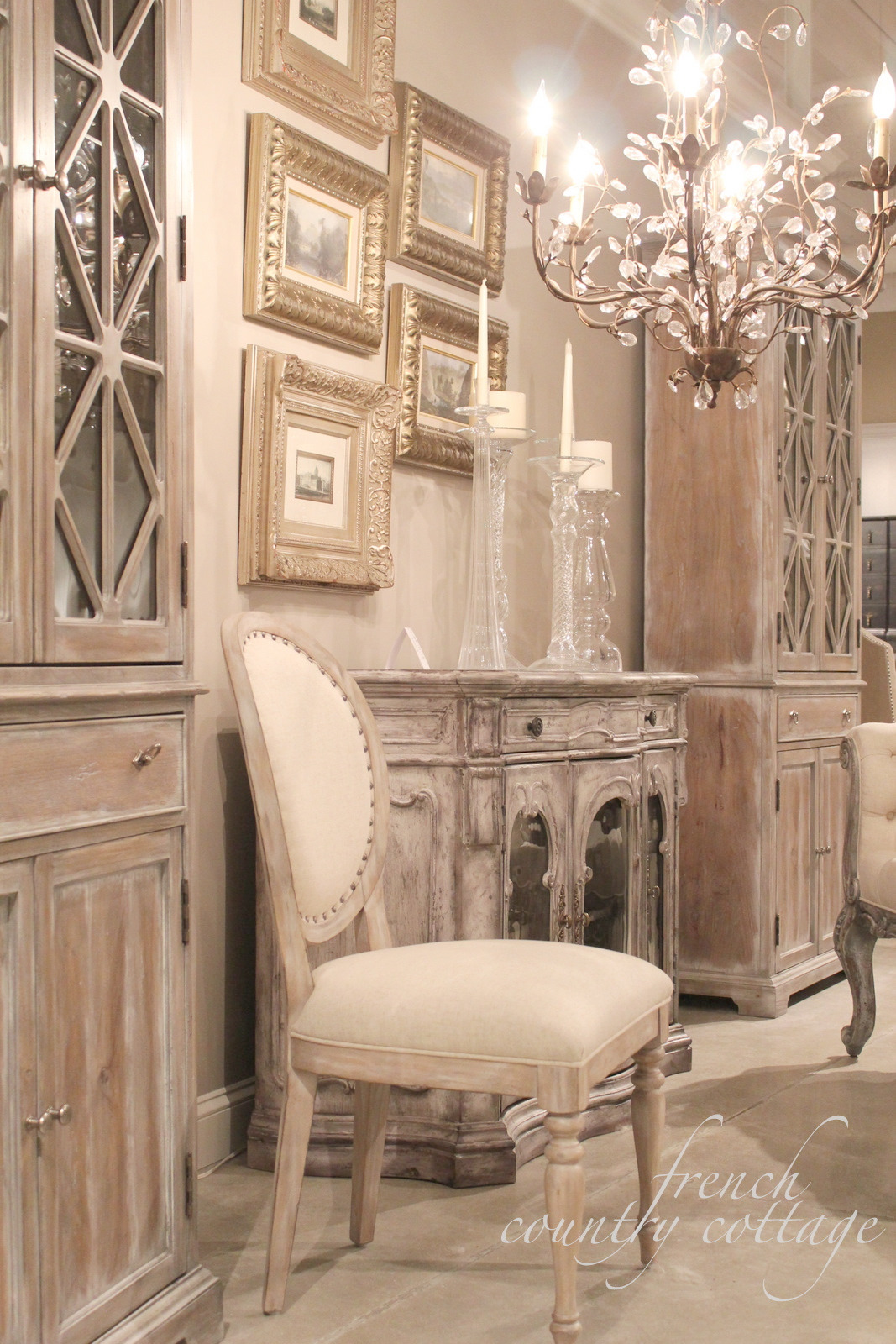 french country furniture chair and chandelier