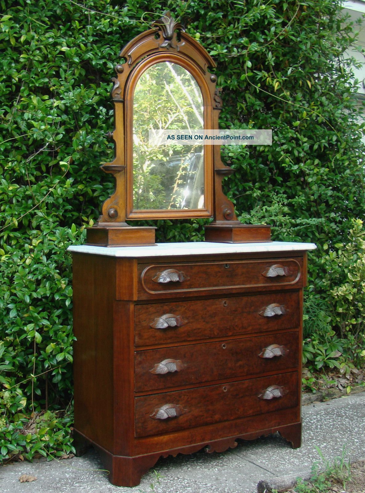 american charleston sc antique walnut chest of drawers mirror marble glove boxes