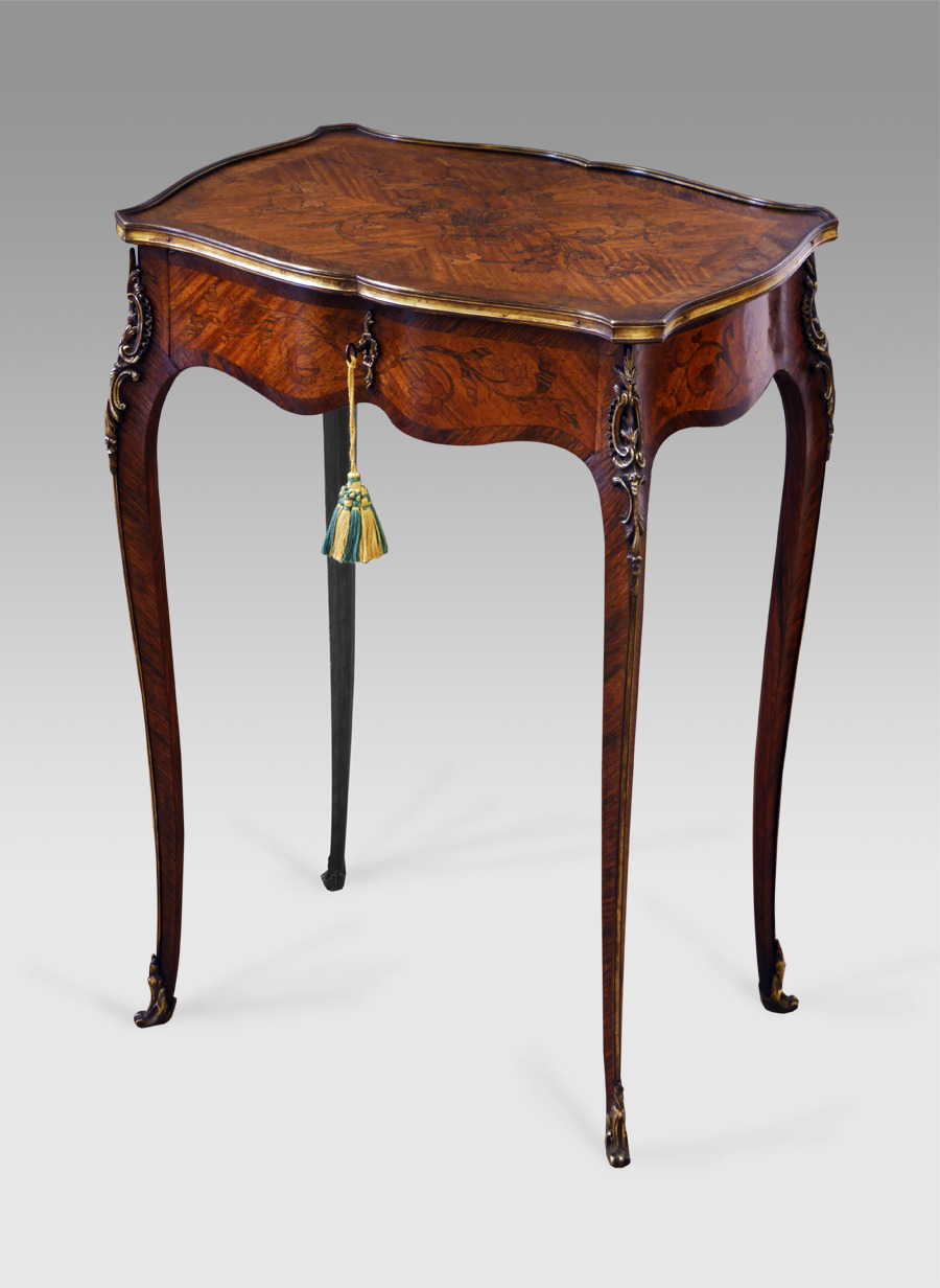 antique marquetry occasional table 3 6 refno 2457