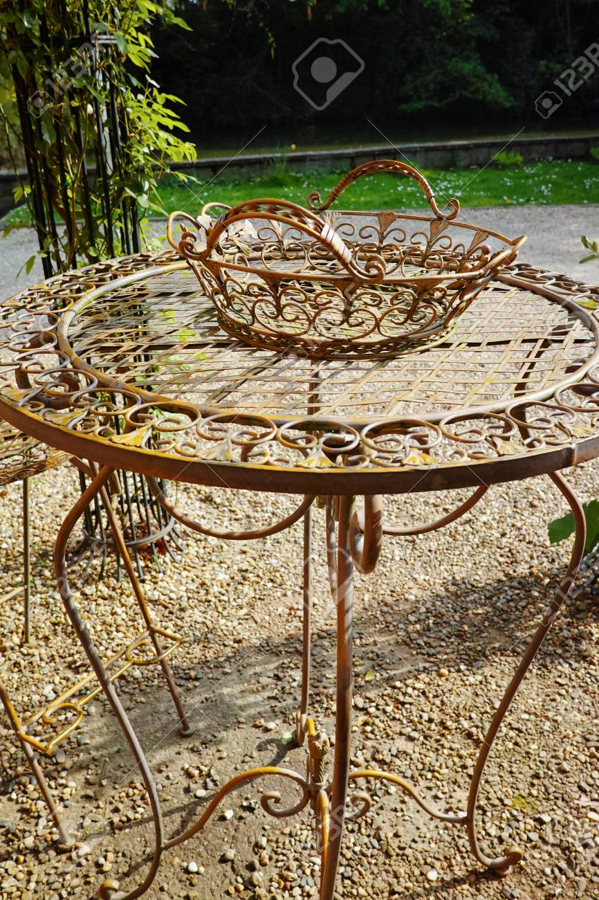 photo elegant antique patterned iron garden furniture set high table and chairs