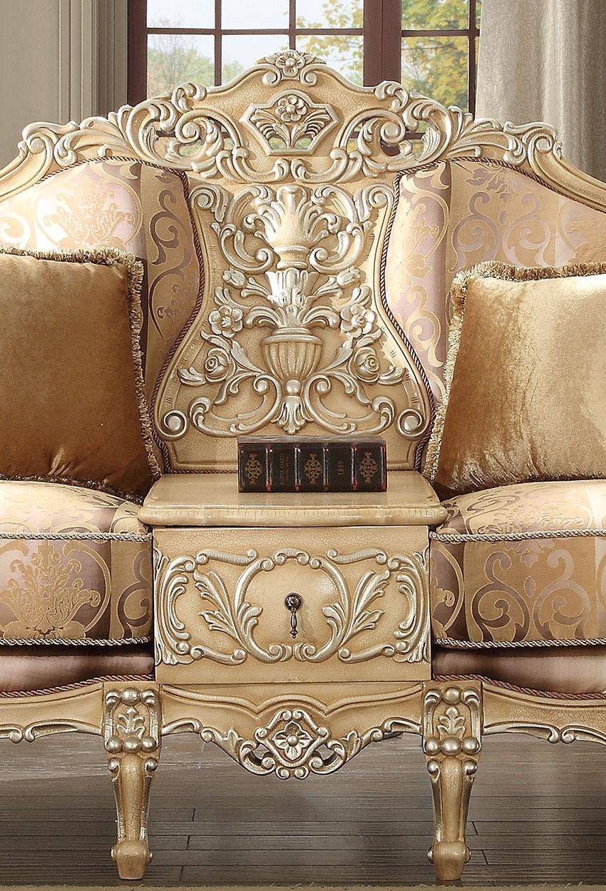 homey design hd 1633 victorian upholstery antique gold sofa loveseat chair coffee table and end table set 5pcs
