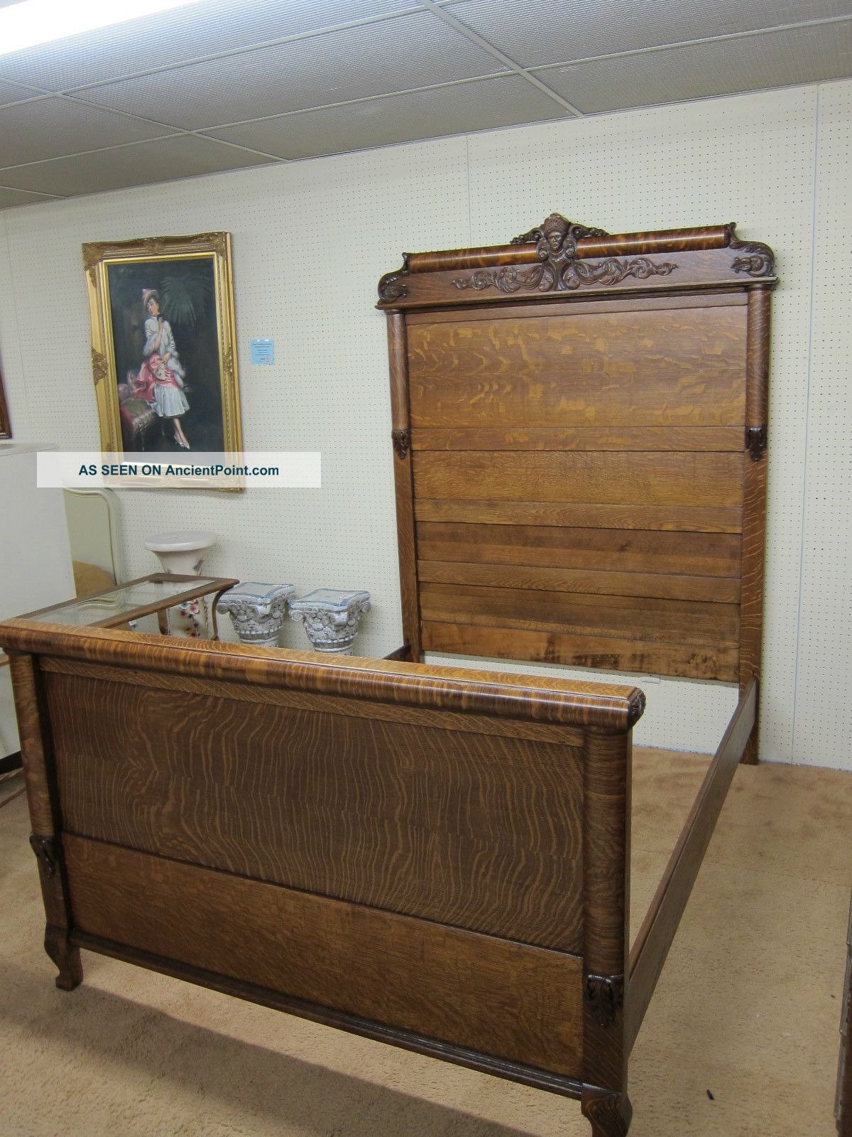 antique tiger oak full size bed hand carved circa 1910 refinished and restored