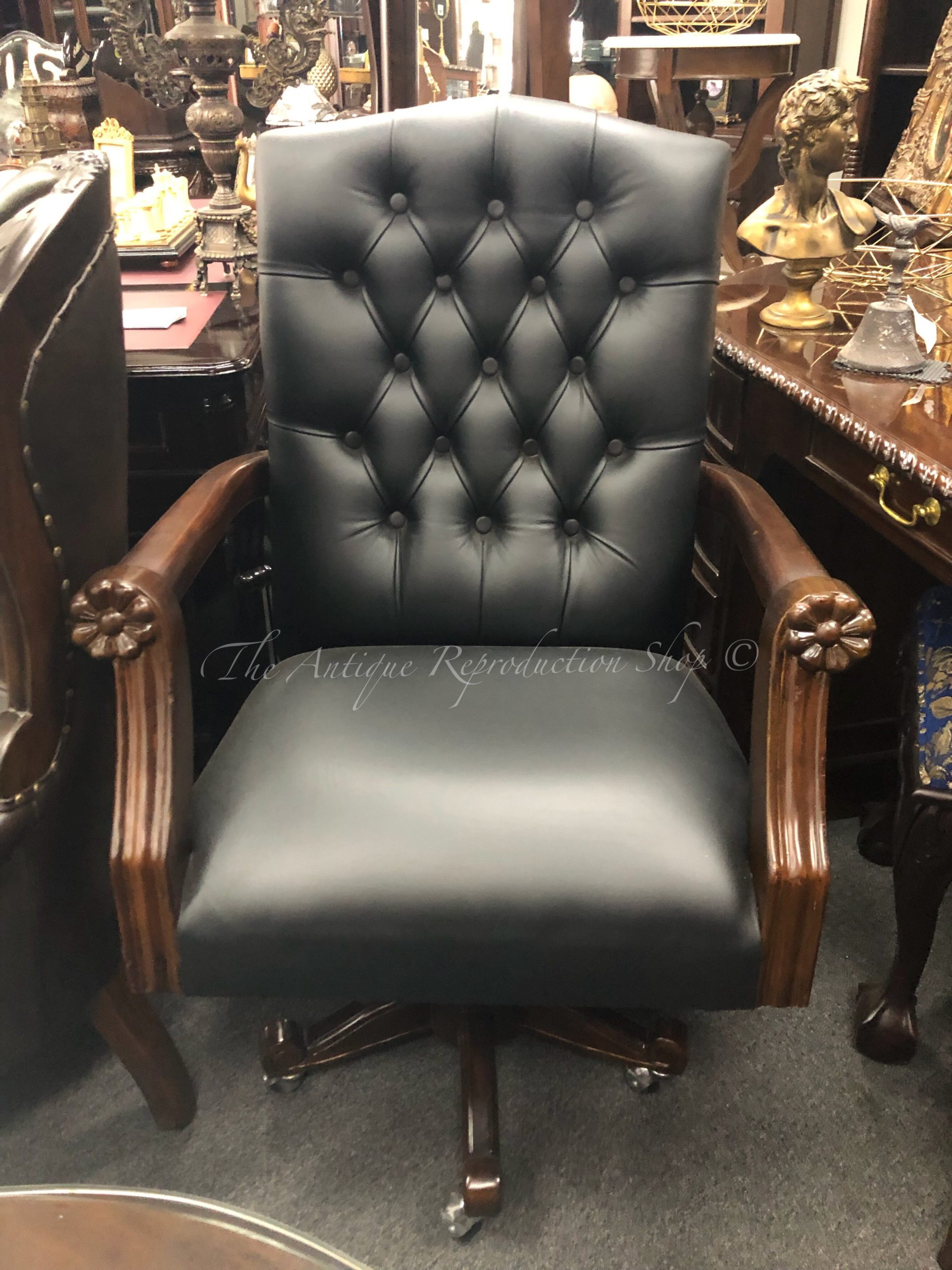 Antique Reproduction Office Furniture Inspirational Wing Style Swivel Fice Chair Traditional In Black Leather