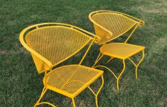 Antique Wrought Iron Patio Furniture For Sale Unique Vintage Set Of Two Wrought Iron Mesh Barrel Back Russell Woodard Chairs Yellow Paint