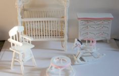 Baby Furniture Sets Antique White Luxury Vintage 1 12th Scale Dolls House Baby Girl Bedroom Pink And White Furniture Set Crib With Canopy Chest Drawers High Chair