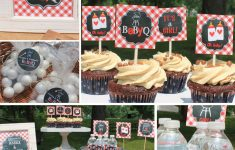 Bbq Themed Baby Shower Luxury Red Baby Q Baby Shower Decorations Banner Cupcake Toppers