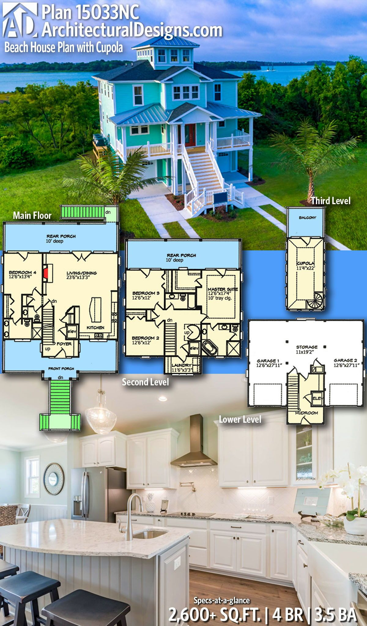 Beach Cottage Designs and Floor Plans Lovely Plan Nc Beach House Plan with Cupola In 2020
