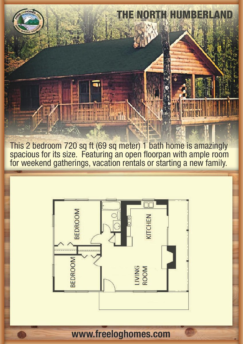 """Best Open Floor Plans 2017 Beautiful Free Log Homes On Twitter """"log Cabin 720 Sq Ft 2 Beds 1"""