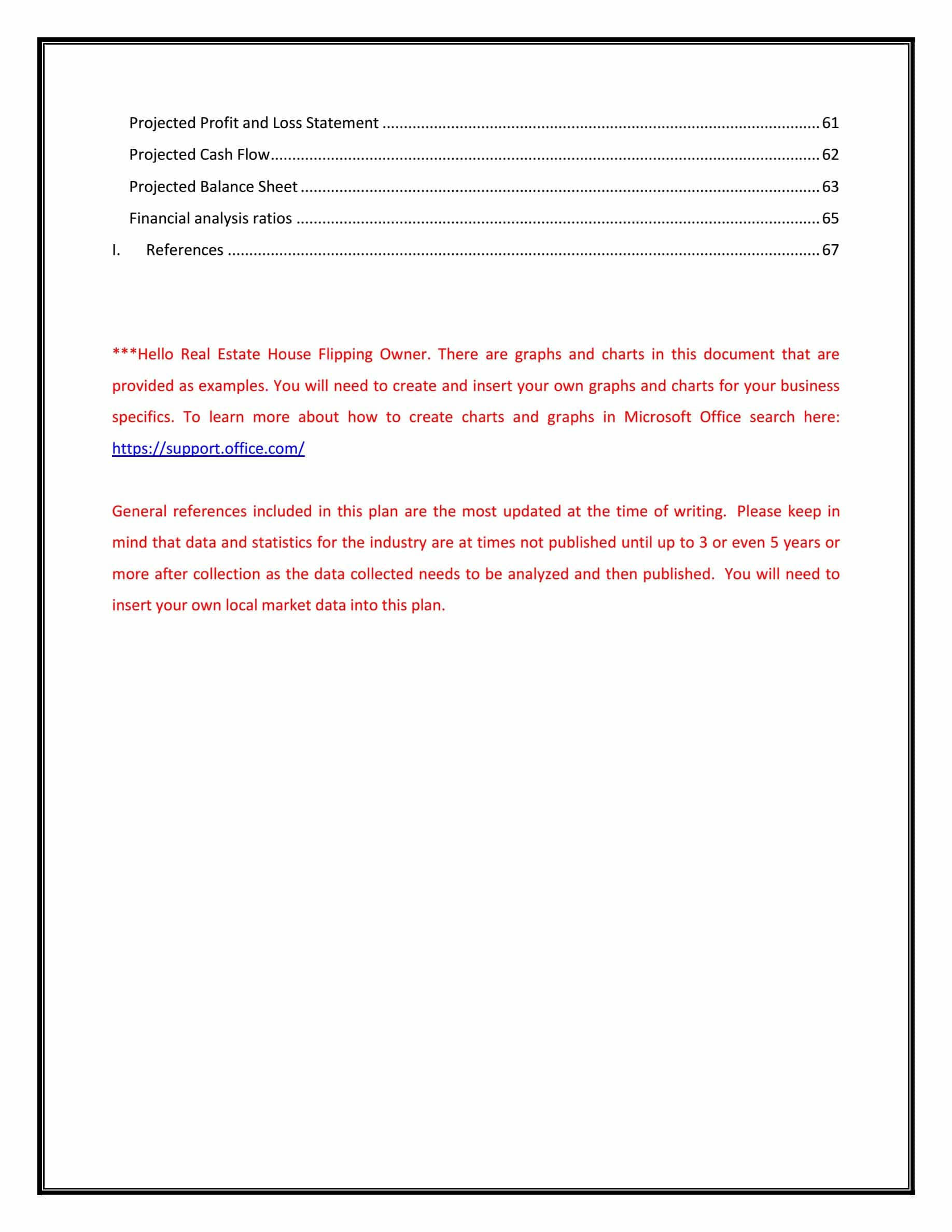 table of contents page 3 RealEstate Flipping Business Plan Template
