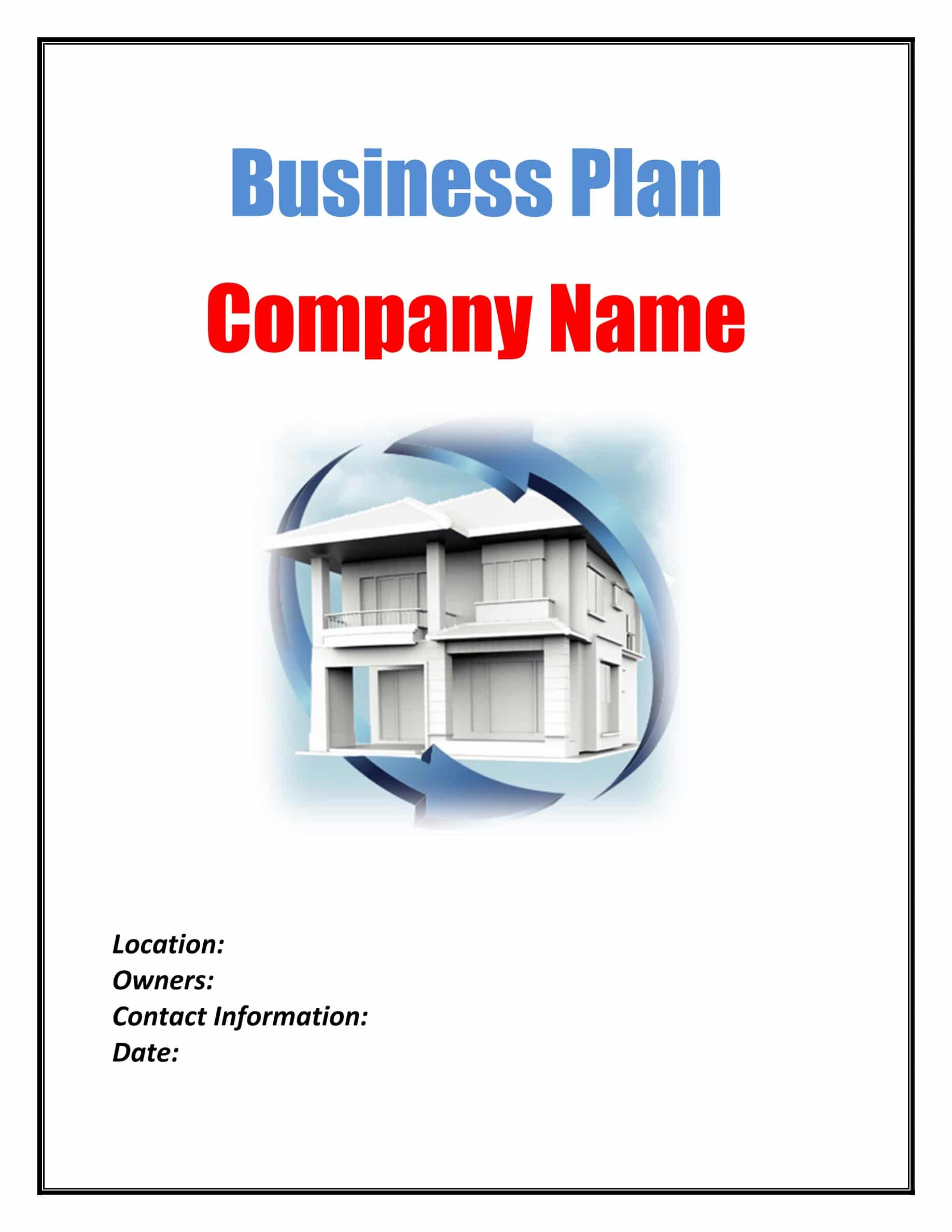 cover page RealEstate Flipping Business Plan Template