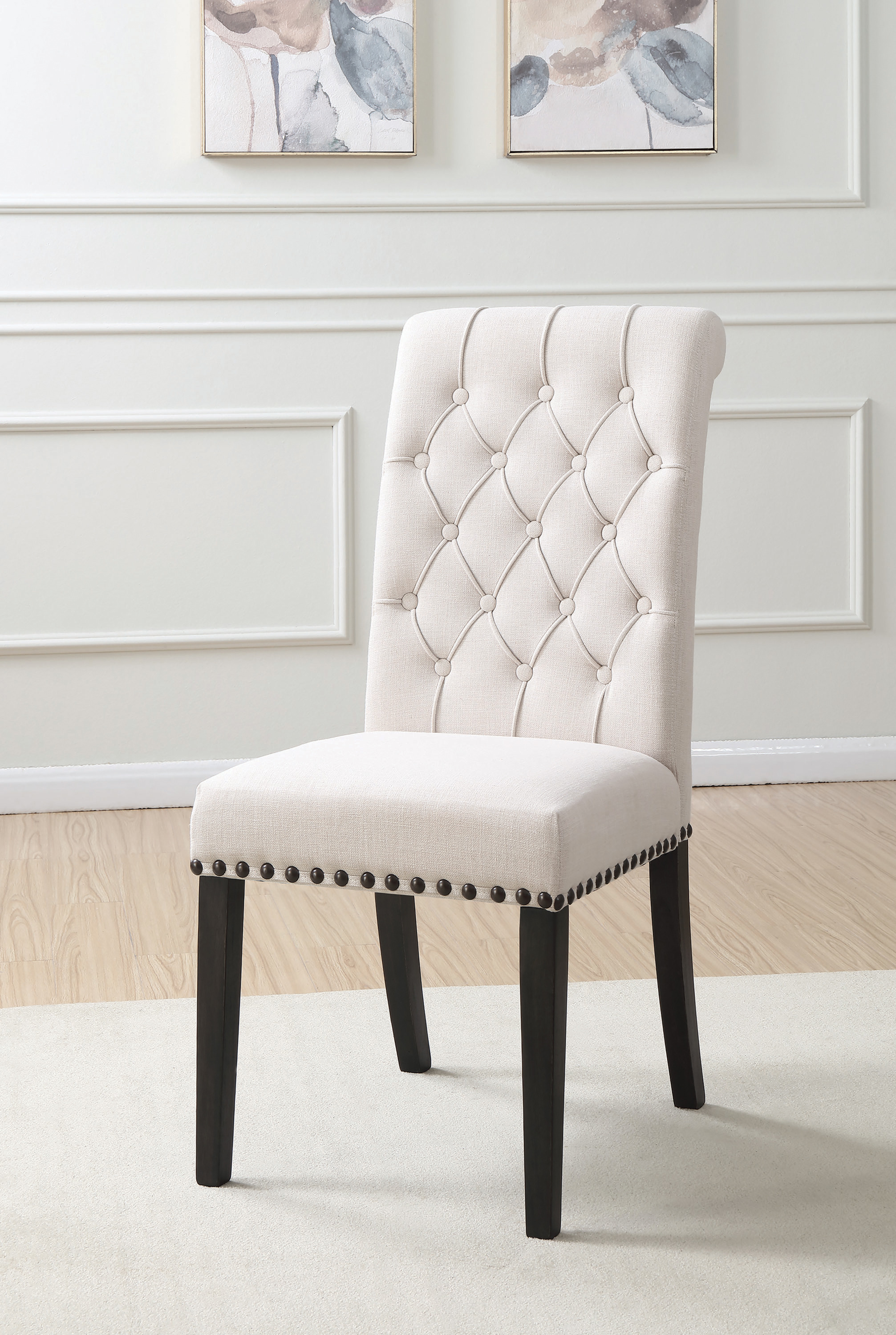 Coaster Fine Furniture Antique Linens Luxury Phelps Upholstered Side Chairs Beige and Smokey Black Set