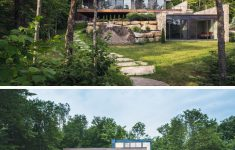 Contemporary Stone House Designs Elegant Wood And Stone Cover The Exterior This Multi Level Modern