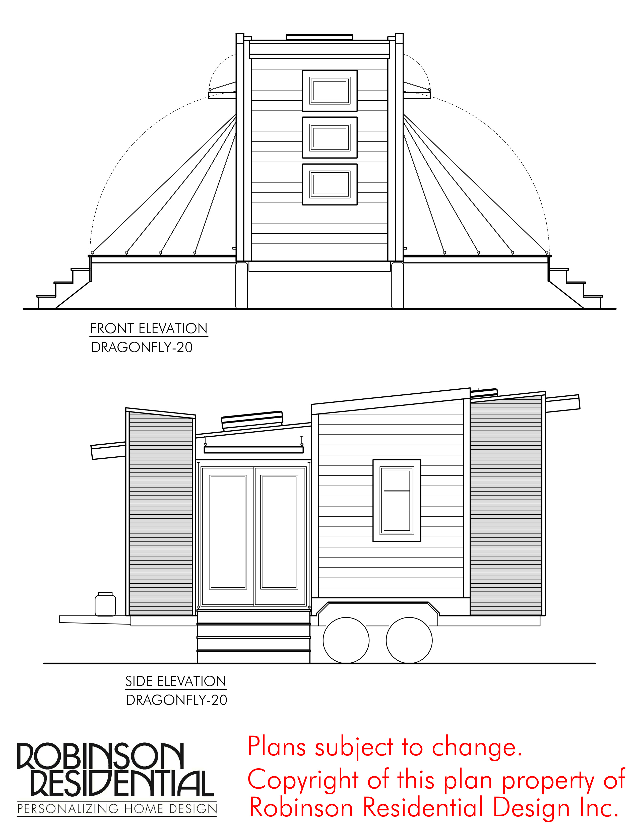 CONTEMPORARY TINY HOUSE PLANS DRAGONFLY 20 02 ELEVATIONS