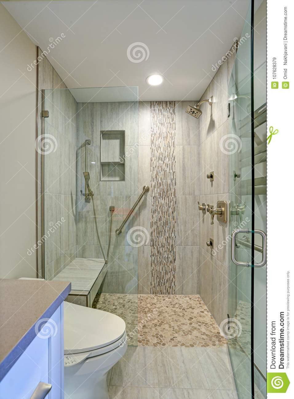contemporary bathroom design walk shower boasts gorgeous tiled recessed shelves built bench accented glass mosaic