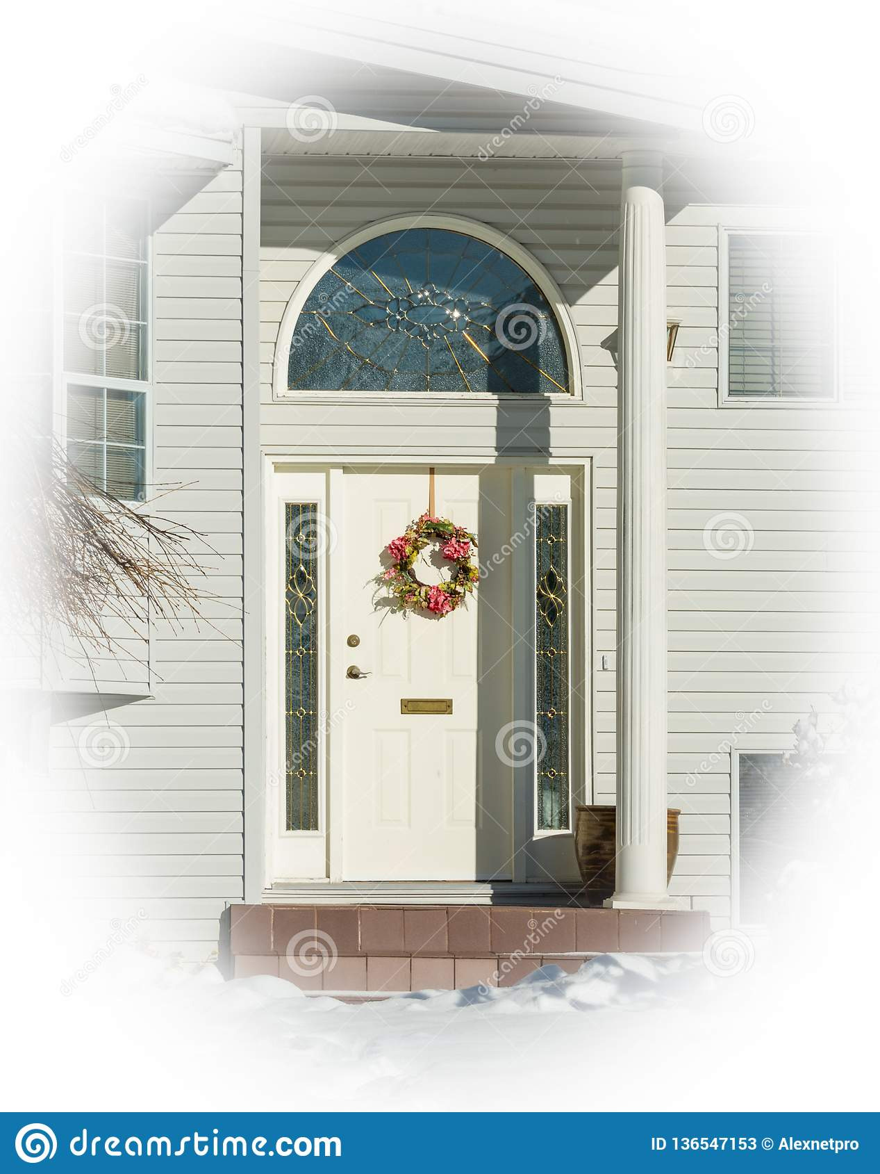 entrance typical american house winter snow covered house entrance typical american house winter entrance average