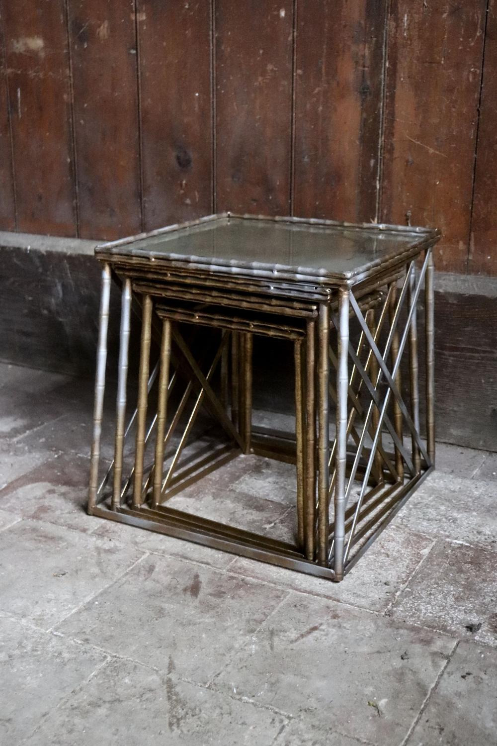 metal coffee tables with distressed mirrored tops main size3