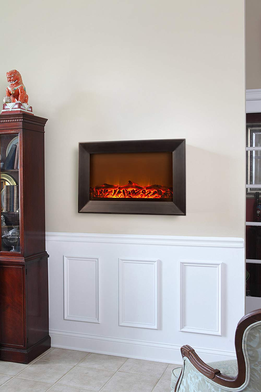 ParkSideAve wall mounted electric fireplace fire sense wood frame wall mount electric fireplace 4
