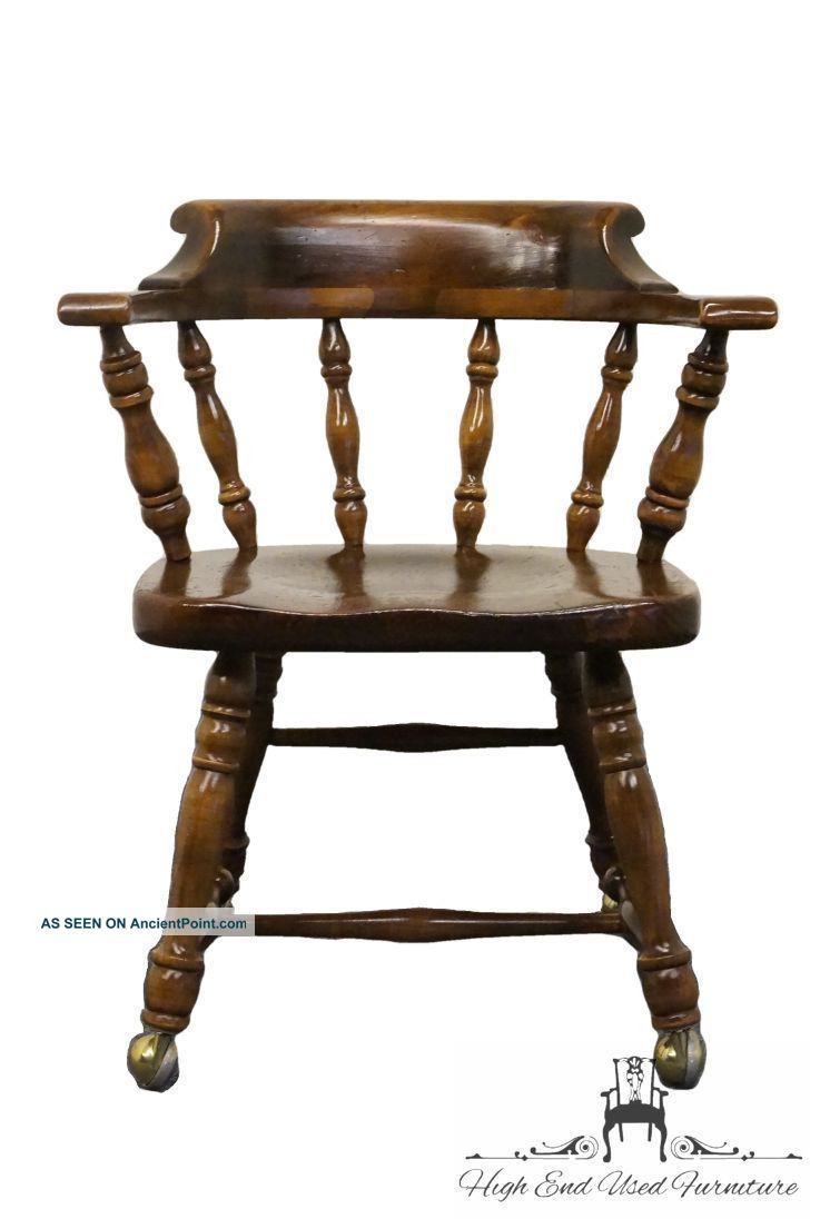 ethan allen antiqued pine old tavern mates chair w casters 12 6001