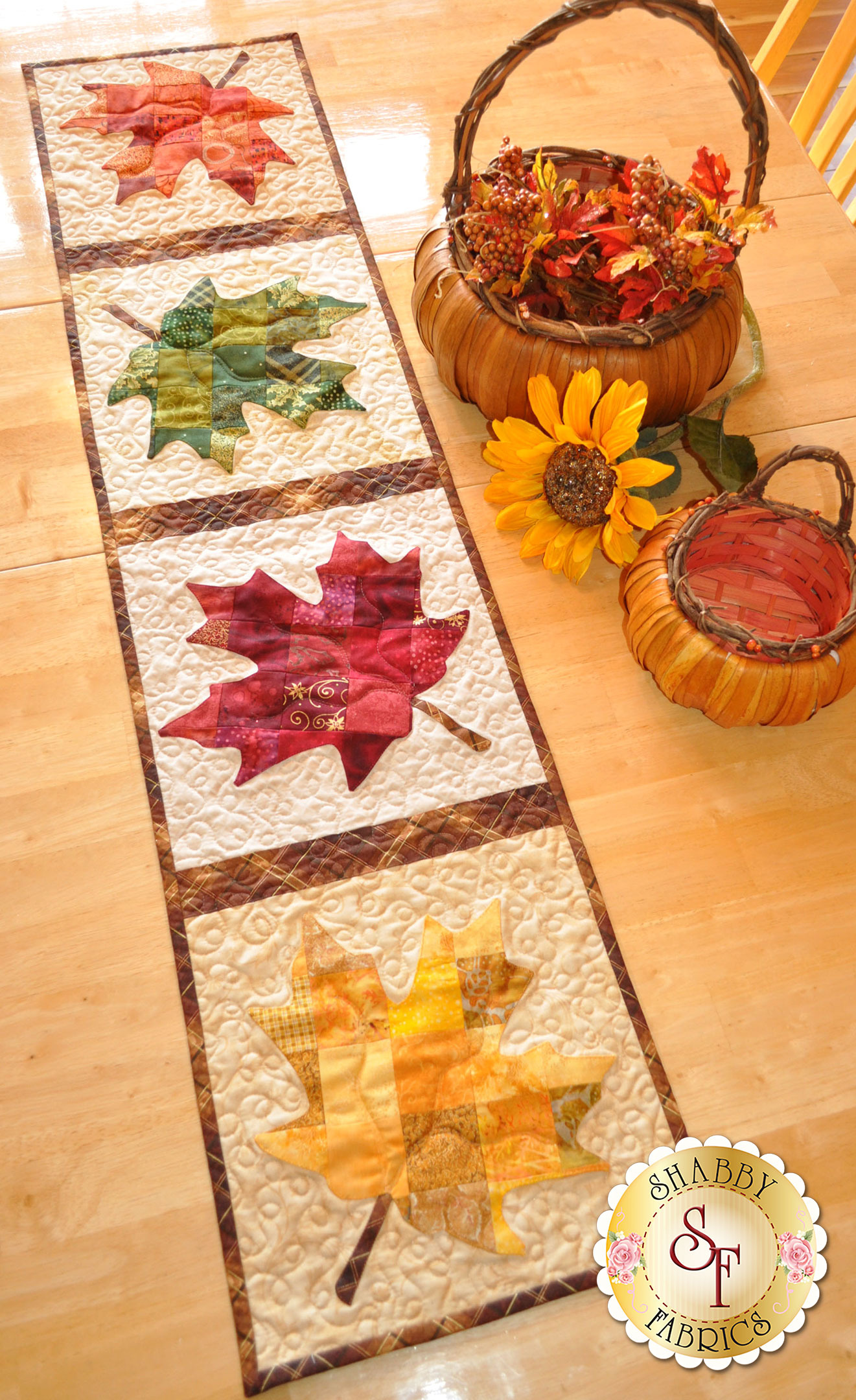 Patchwork Maple Leaf Table Runner Pattern P x