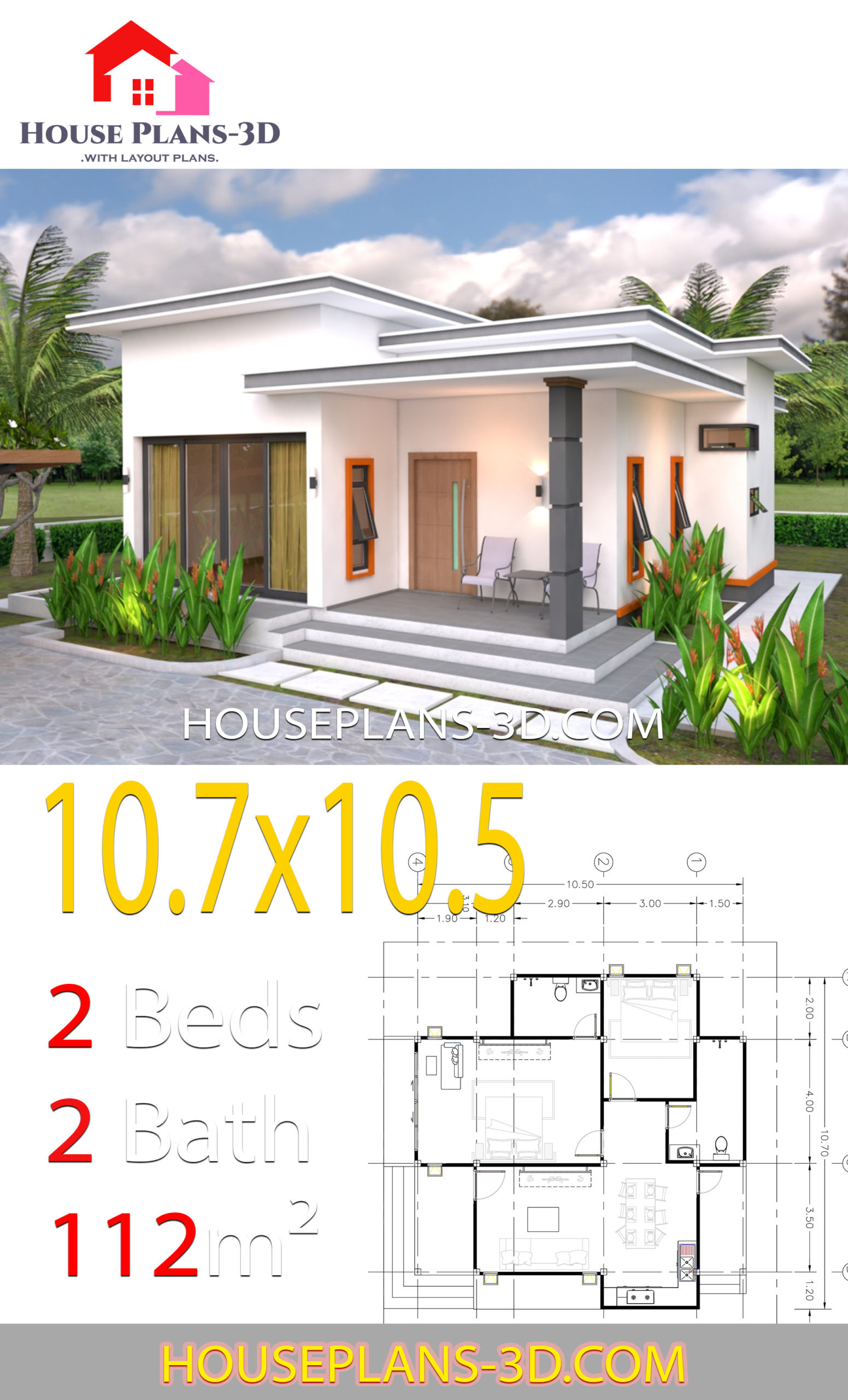Flat Roof House Plans Ideas New House Plans 10 7x10 5 with 2 Bedrooms Flat Roof House Plans 3d
