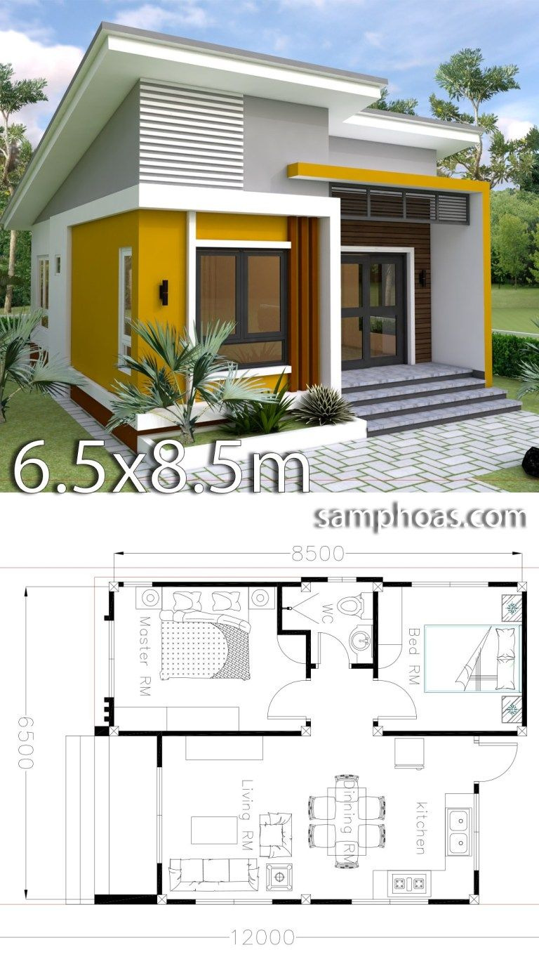 Floor Plans for Small Houses with 2 Bedrooms Awesome Small Home Design Plan 6 5x8 5m with 2 Bedrooms